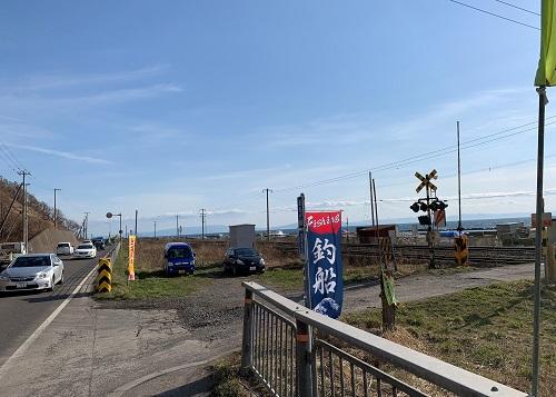 北海道伊達市レンタル釣り船、ヒラメ・カレイ・シャケ釣りの黄金マリン、室蘭方面へ向かって入り口風景
